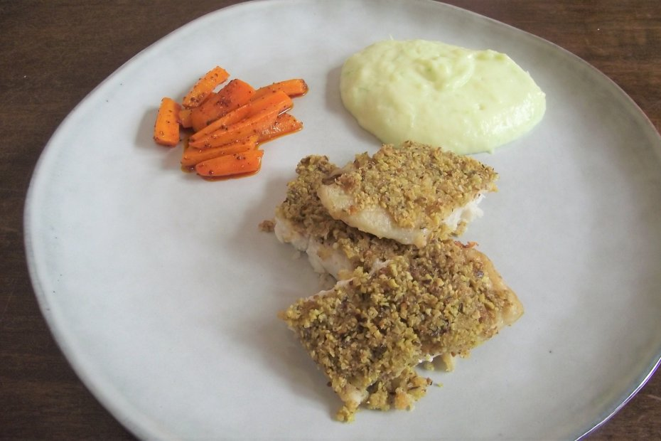 Crusted baked turbot