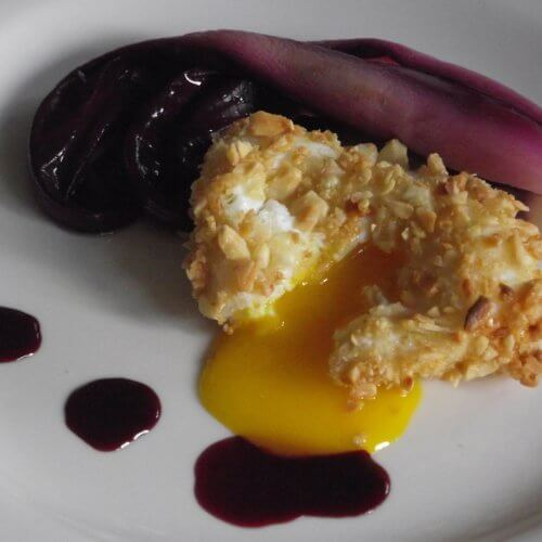 Open poached egg with sweet and sour radicchio - sous vide